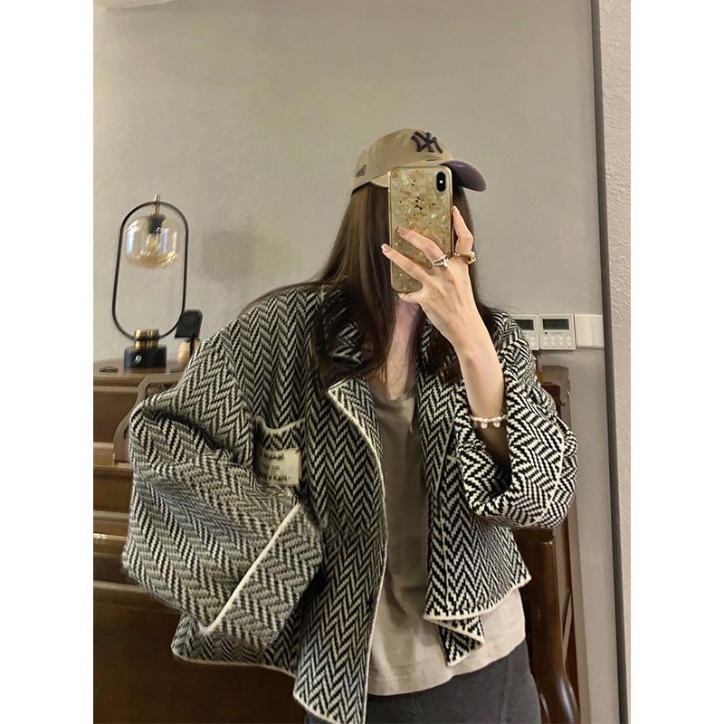 D281#官圖實價 2021秋季新款韓版寬松顯瘦小香風長袖針織短外套女