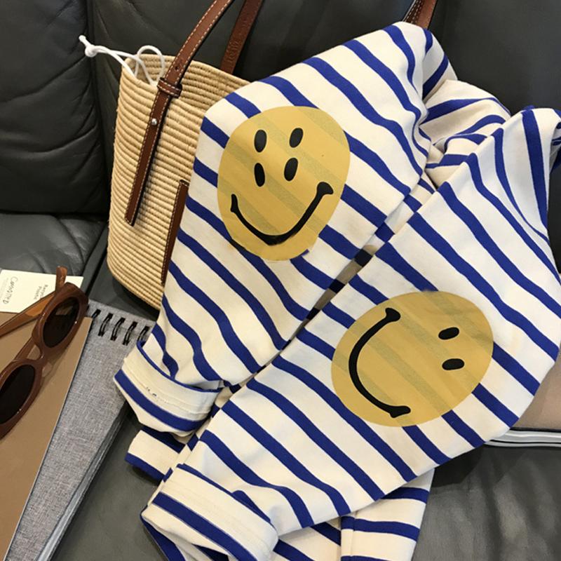 9255#官圖實價 95棉 5氨綸 2021秋季新款寬松圓領笑臉條紋長袖T恤
