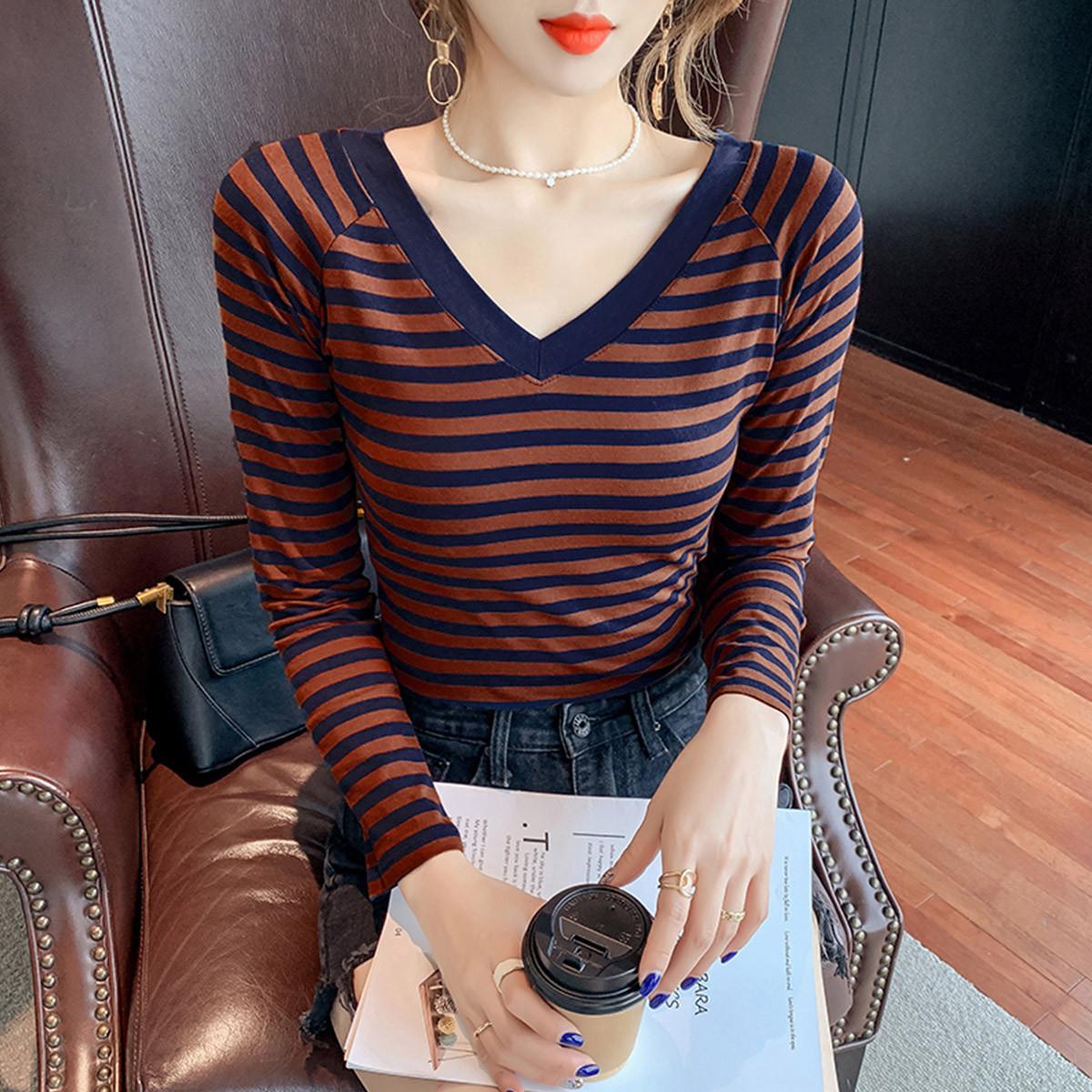 質檢官圖棉質長袖t恤女秋裝2021年條紋打底衫女內搭顯瘦V領上衣潮