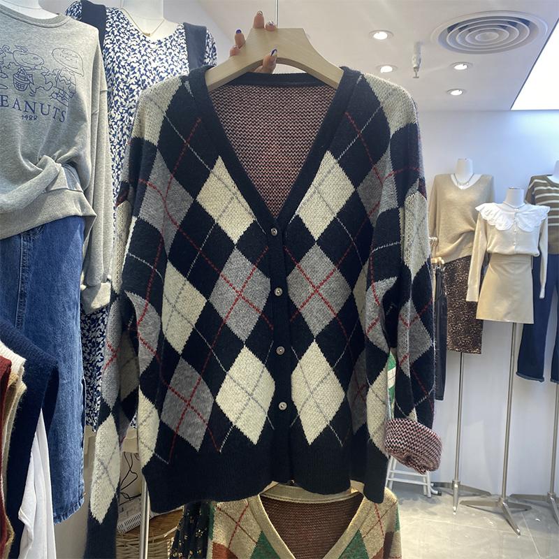 綿羊絨D284#官圖實價 2021新款早秋格子寬松顯瘦針織毛衣開衫