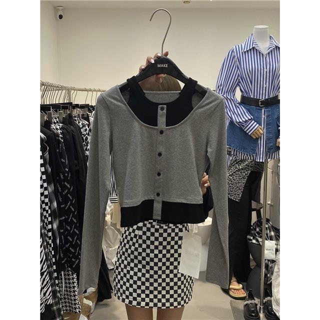 秋季新款修身顯瘦短款長袖T恤女設計感小眾上衣假兩件