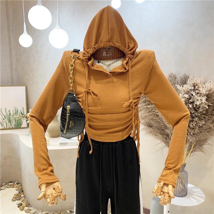 秋季新款韓版修身顯瘦抽褶長袖連帽T恤女設計感氣質網紅上衣