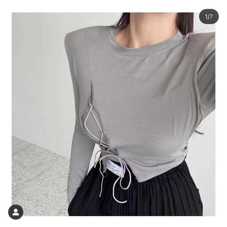 韓國東大門秋季新款個性長袖開叉抽繩修身T恤女上衣