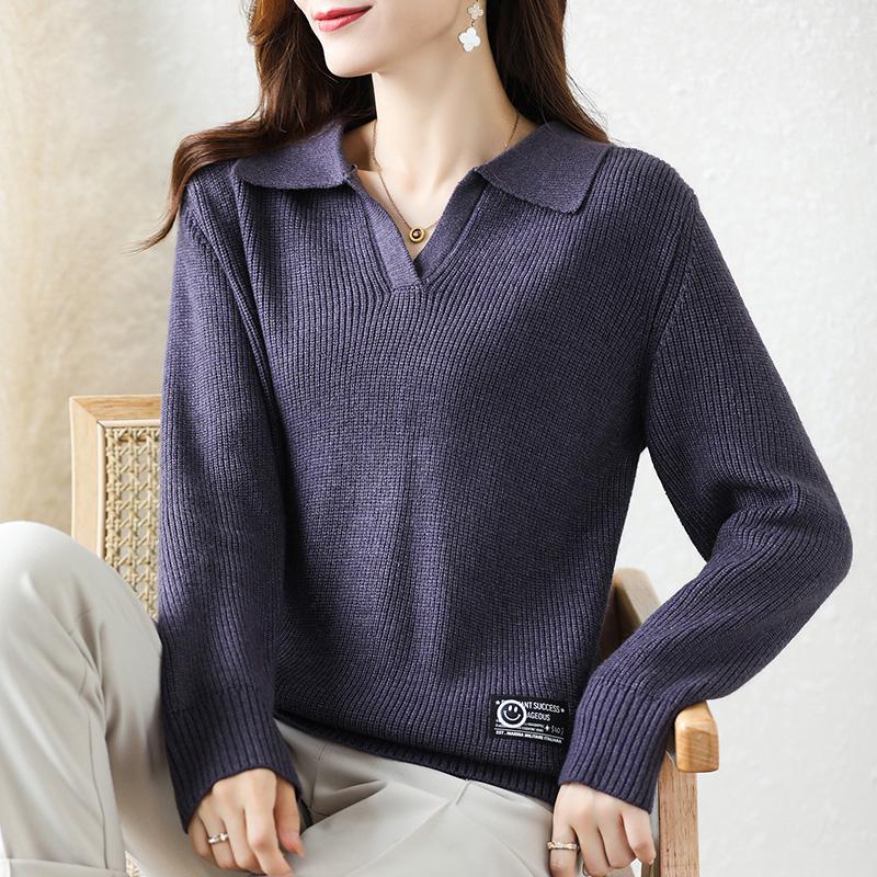 毛衣女寬松外穿秋冬裝2021新款針織半開翻領打底衫洋氣短款厚上衣