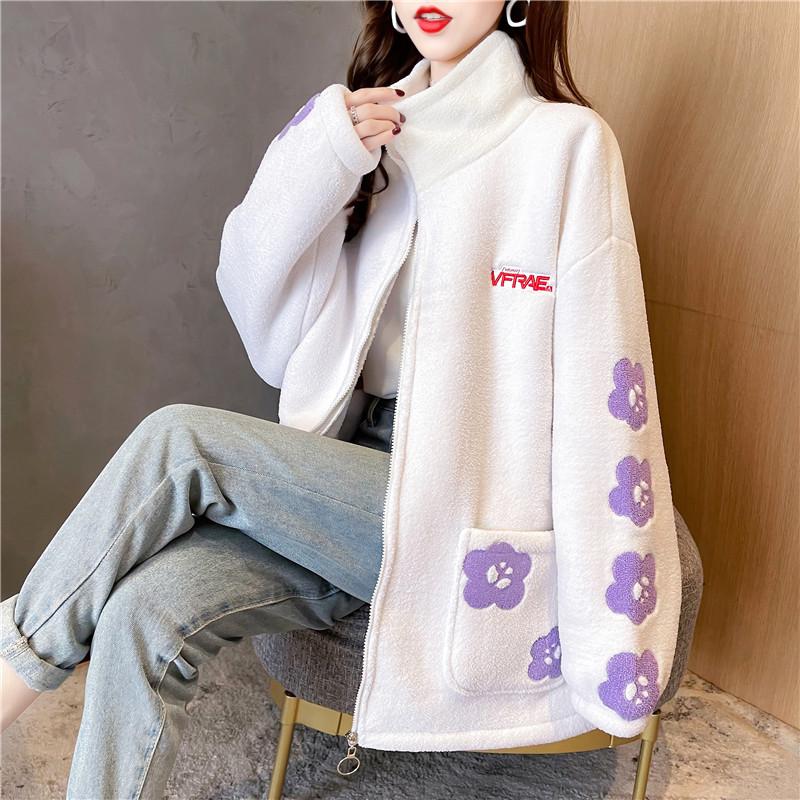 實拍抖音質量加厚楊梅絨冬季新款加絨立領開衫拉鏈外套女百搭上衣