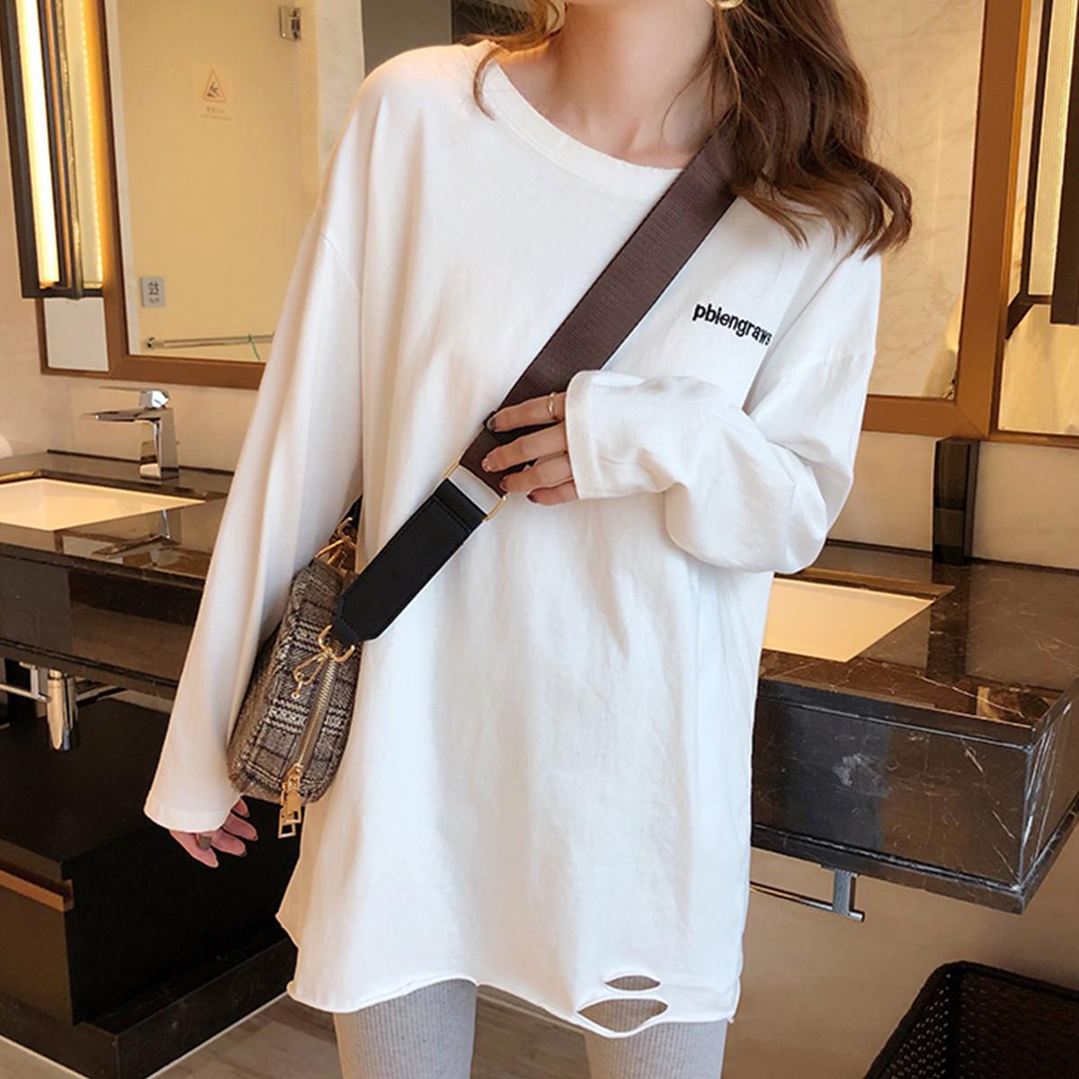 質檢官圖2021春季長袖T恤女寬松韓版中長款打底衫內搭體恤上衣潮