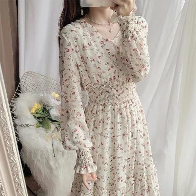 清新碎花裙雪纺连衣裙长裙女春装2021新款气质仙女裙荷叶边大摆裙