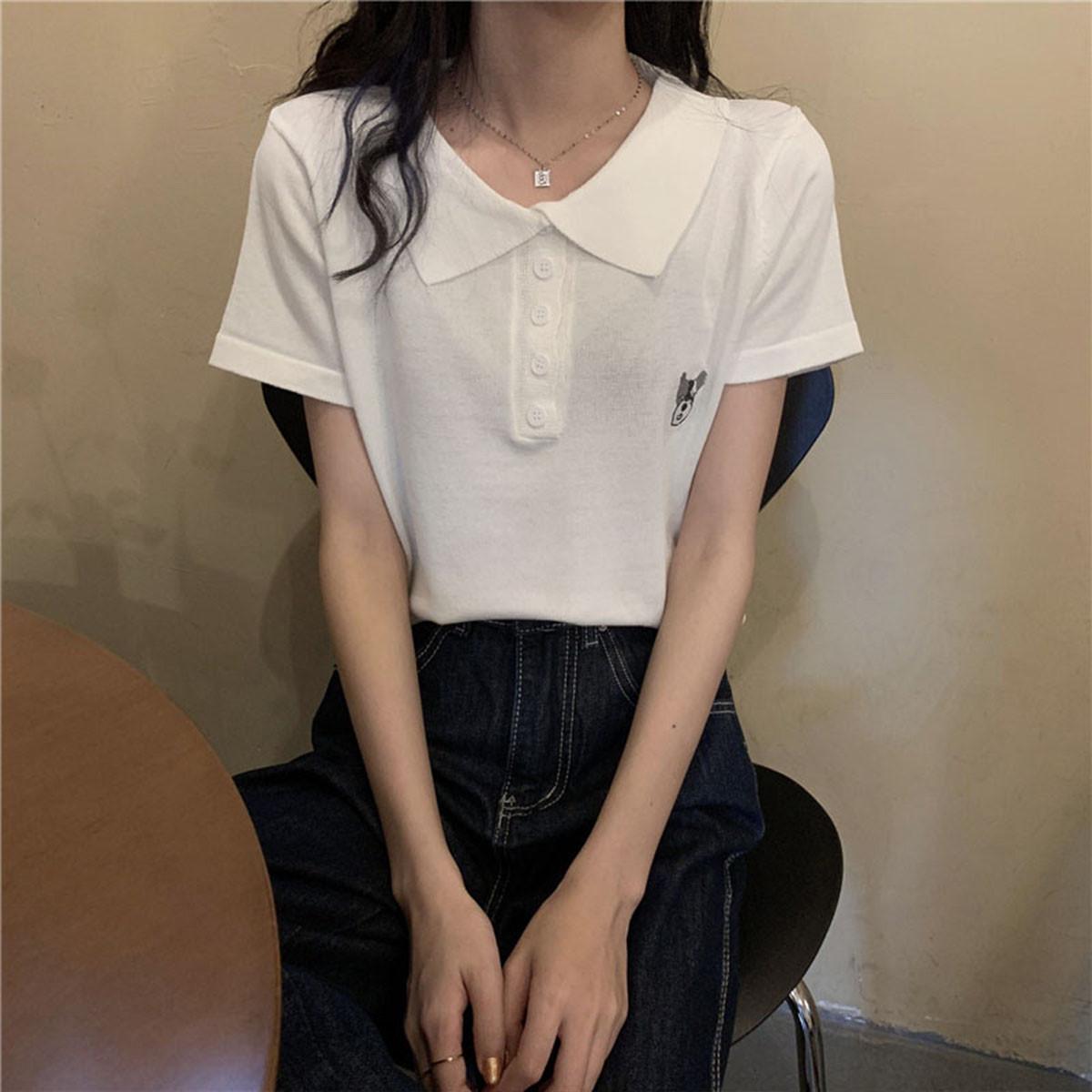 质检官图夏秋2021韩版宽松POLO衫百搭短款露脐上衣短袖T恤女潮