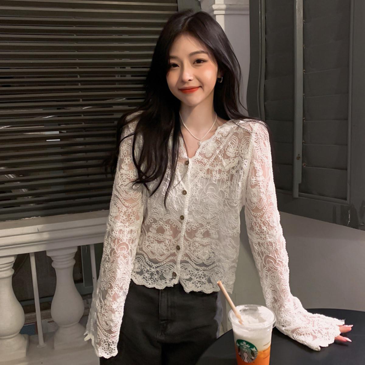 质检官图防晒衣女2021新款夏季薄款宽松镂空罩衫蕾丝衫披肩小外套