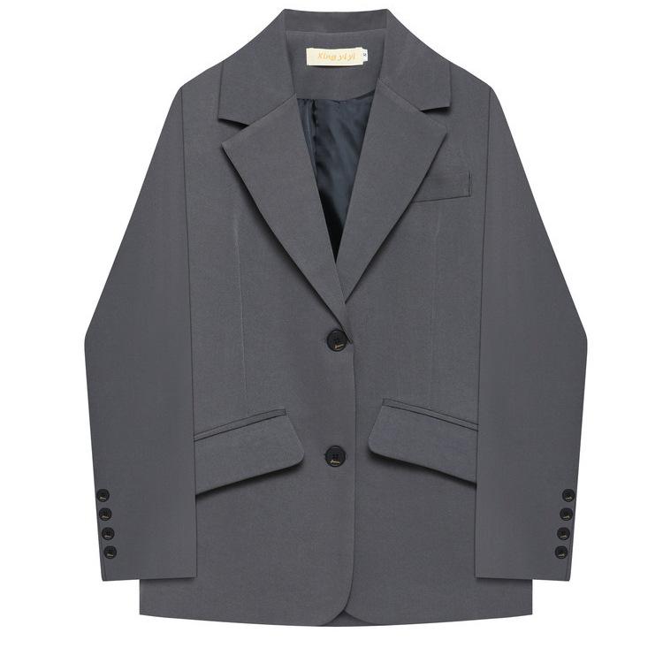 煙灰色小西服裝外套港版女人味小眾設計感職業休閑風西裝西服外套