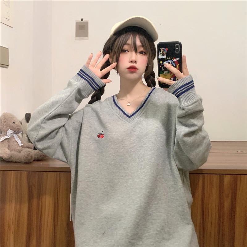 三標齊! 實拍實價! 韓國櫻桃刺繡衛衣女寬松V領長袖