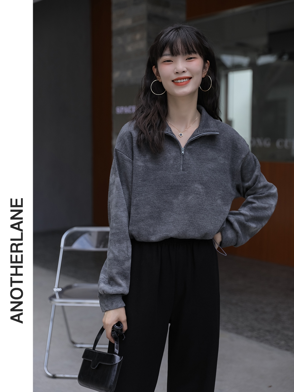 「又巷」 衛衣女潮ins設計感扎染抽繩學生初秋女裝韓版短款薄外套