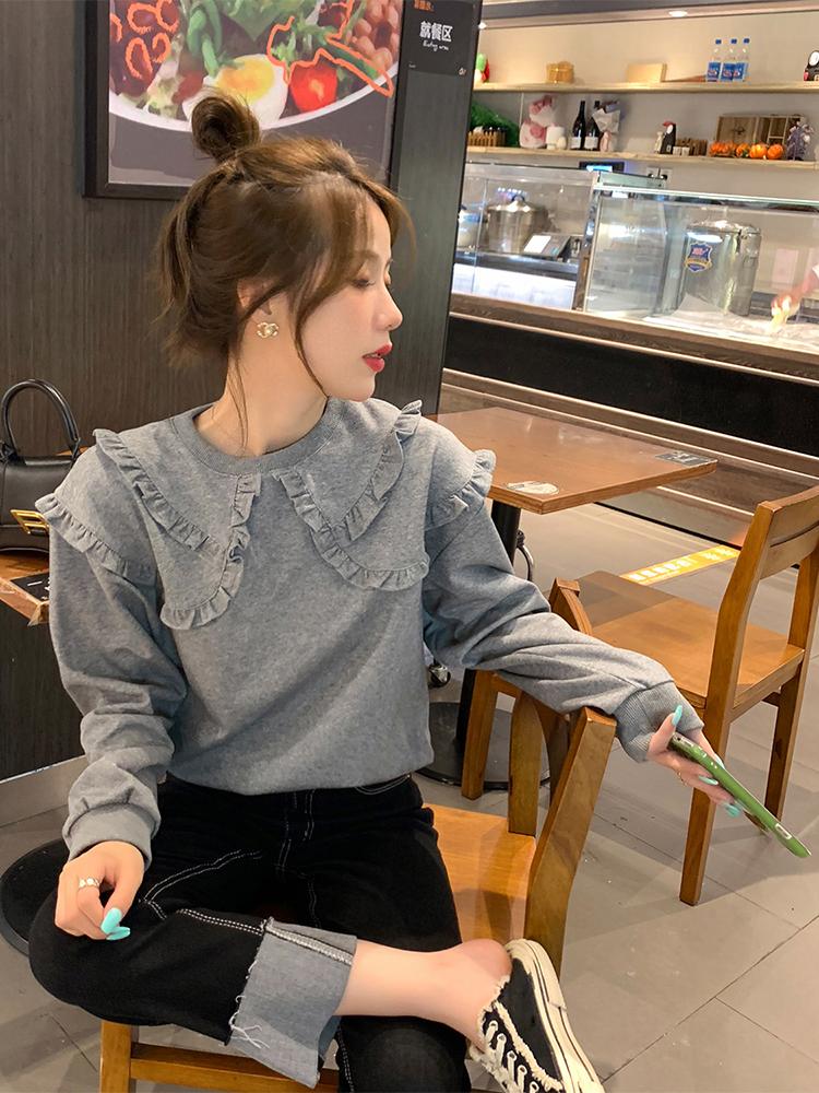 小眾設計感減齡衛衣女生2021年早秋新款復古港風寬松百搭網紅上衣