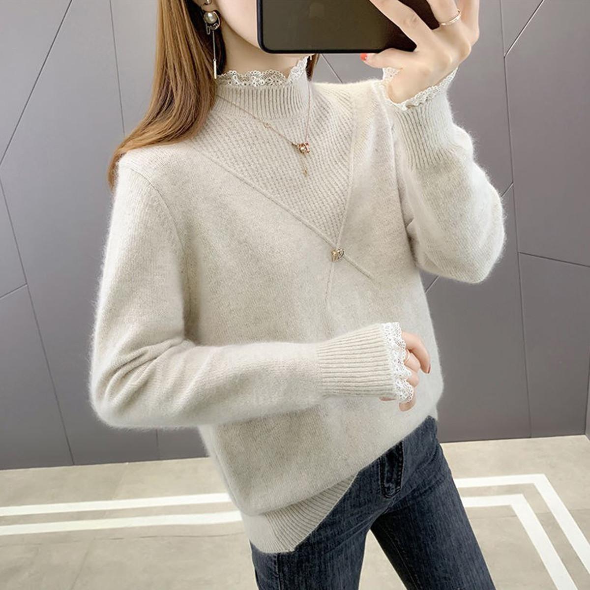 质检官图外穿女士毛衣2021年春秋新款半高领蕾丝拼接针织打底衫女