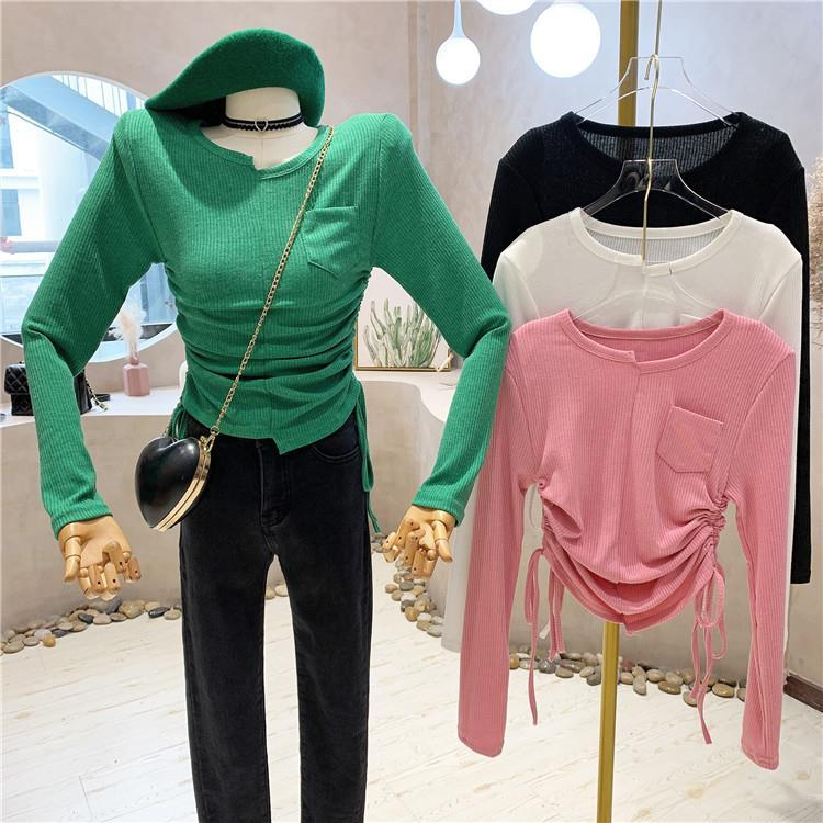 秋冬新款韓版抽繩褶皺短款T恤 女修身顯瘦純色百搭長袖上衣