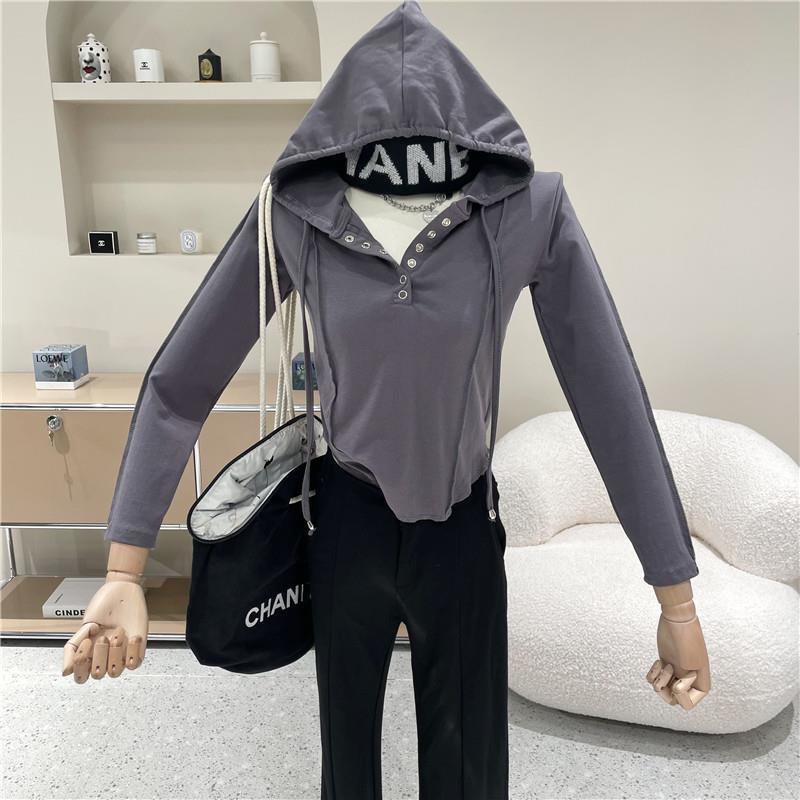 秋季新款內搭打底衫女連帽長袖短款緊身T恤顯瘦上衣
