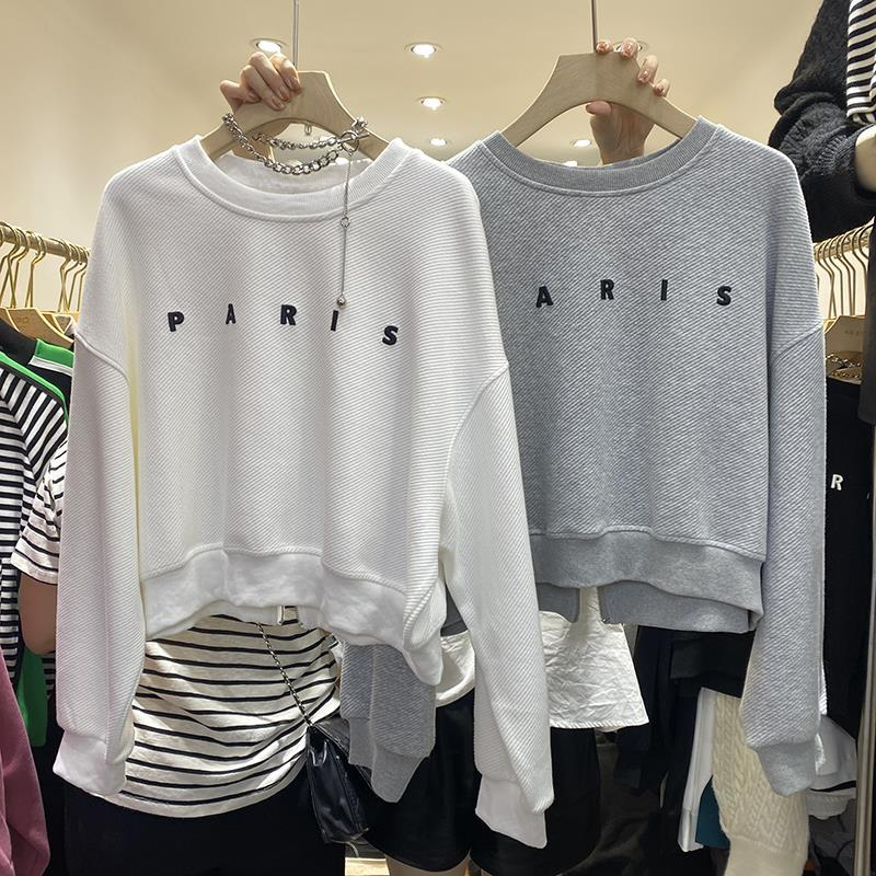 秋季新款韓版后背拉鏈灰色衛衣女設計感小眾寬松短款字母上衣