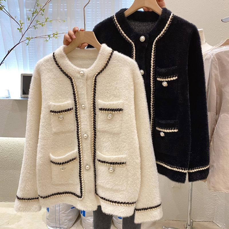 D296#官图实价 2021秋季新款韩版针织开衫外套珍珠扣小香风上衣女