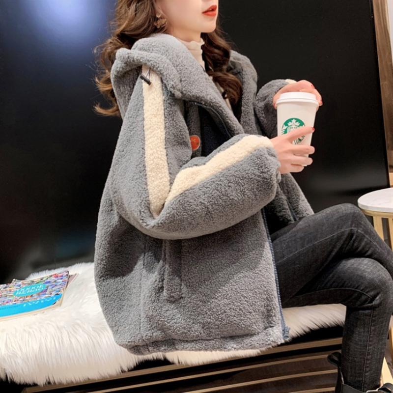 实拍好质量380克羊羔绒刺绣卫衣女冬高领加绒加厚大码女装