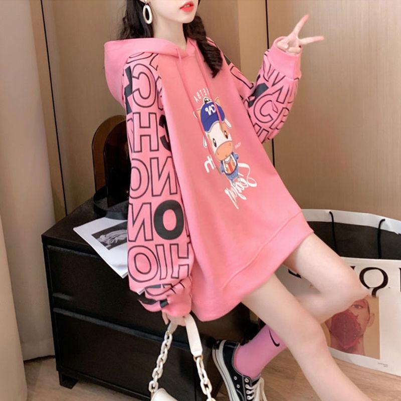 炸街棉质大码女装春秋薄长袖卫衣女韩版宽松连帽设计感上衣网红