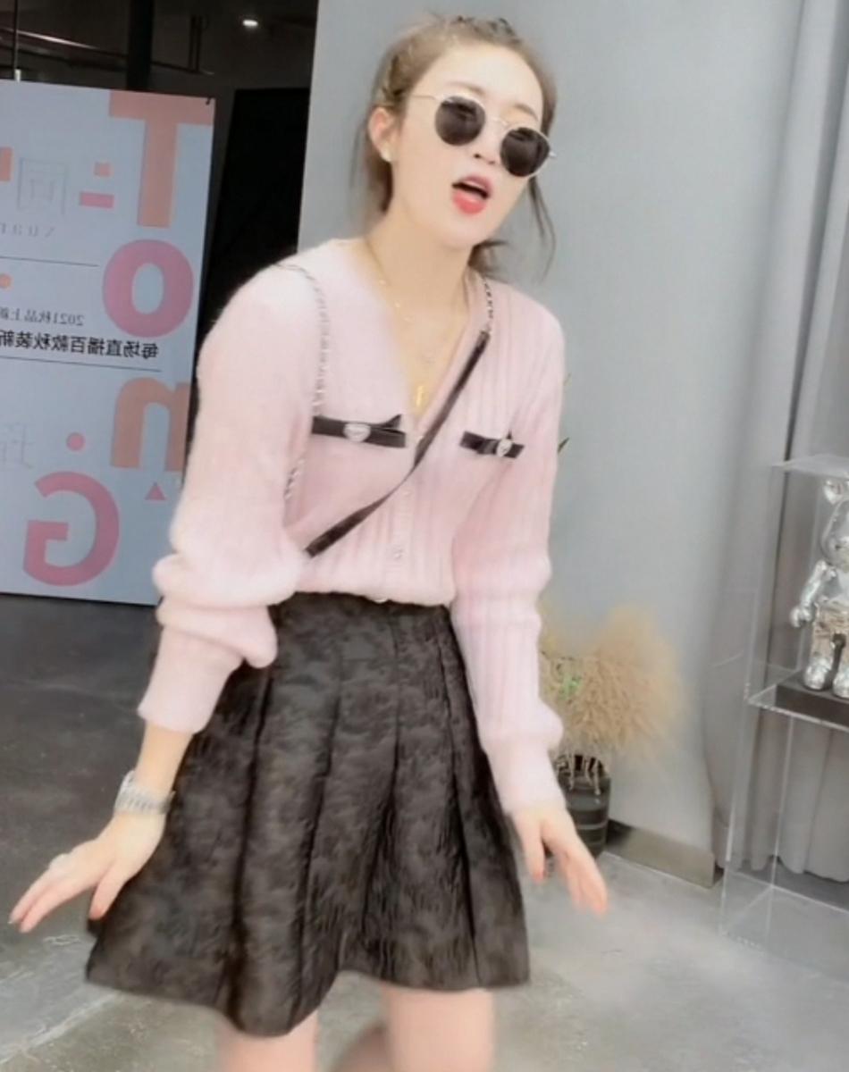 秋款竖条纹粉色小香风针织开衫V领宽松显瘦毛衣长袖甜美女欧洲站