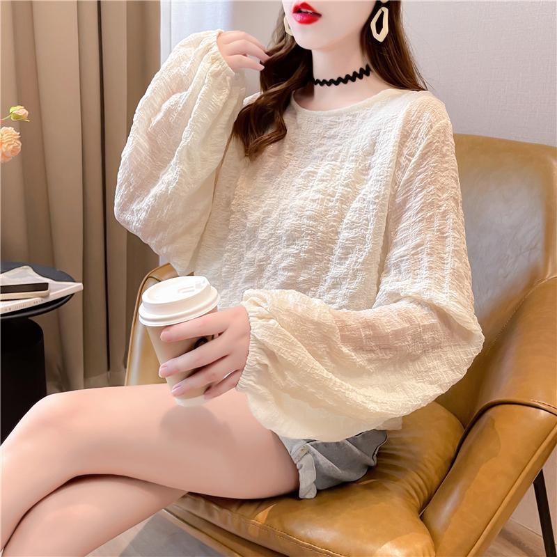 實拍炸街奶杏色溫柔風長袖襯衫女新款法式設計感小眾氣質褶皺上衣