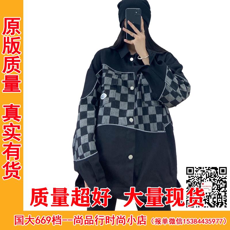 歐美高街hiphop外套女春秋2021年新款百搭ins潮牌棋盤格工裝夾克