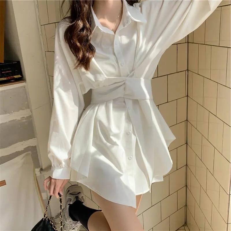 時尚套裝女秋季2021年新款韓版長袖襯衫連衣裙高腰休閑短褲兩件套