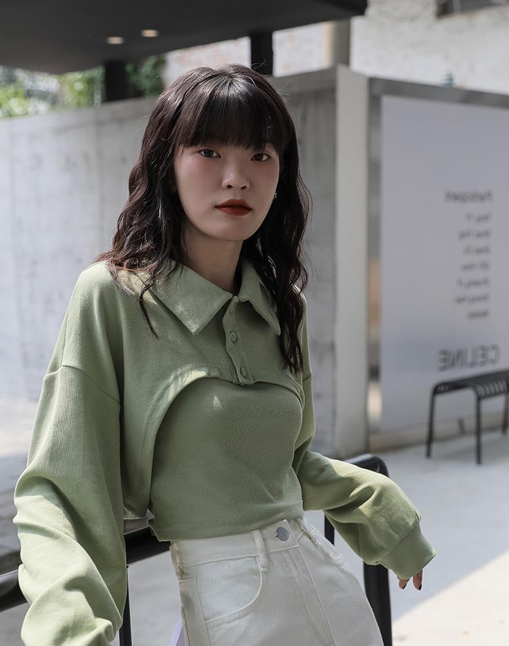 秋季上衣女设计感小众短款纯色POLO领罩衫内搭吊带两件套