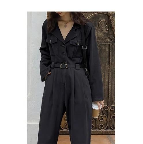 2021早秋季新款韓版直筒收腰工裝連衣褲西裝領假兩件套裝連體褲女