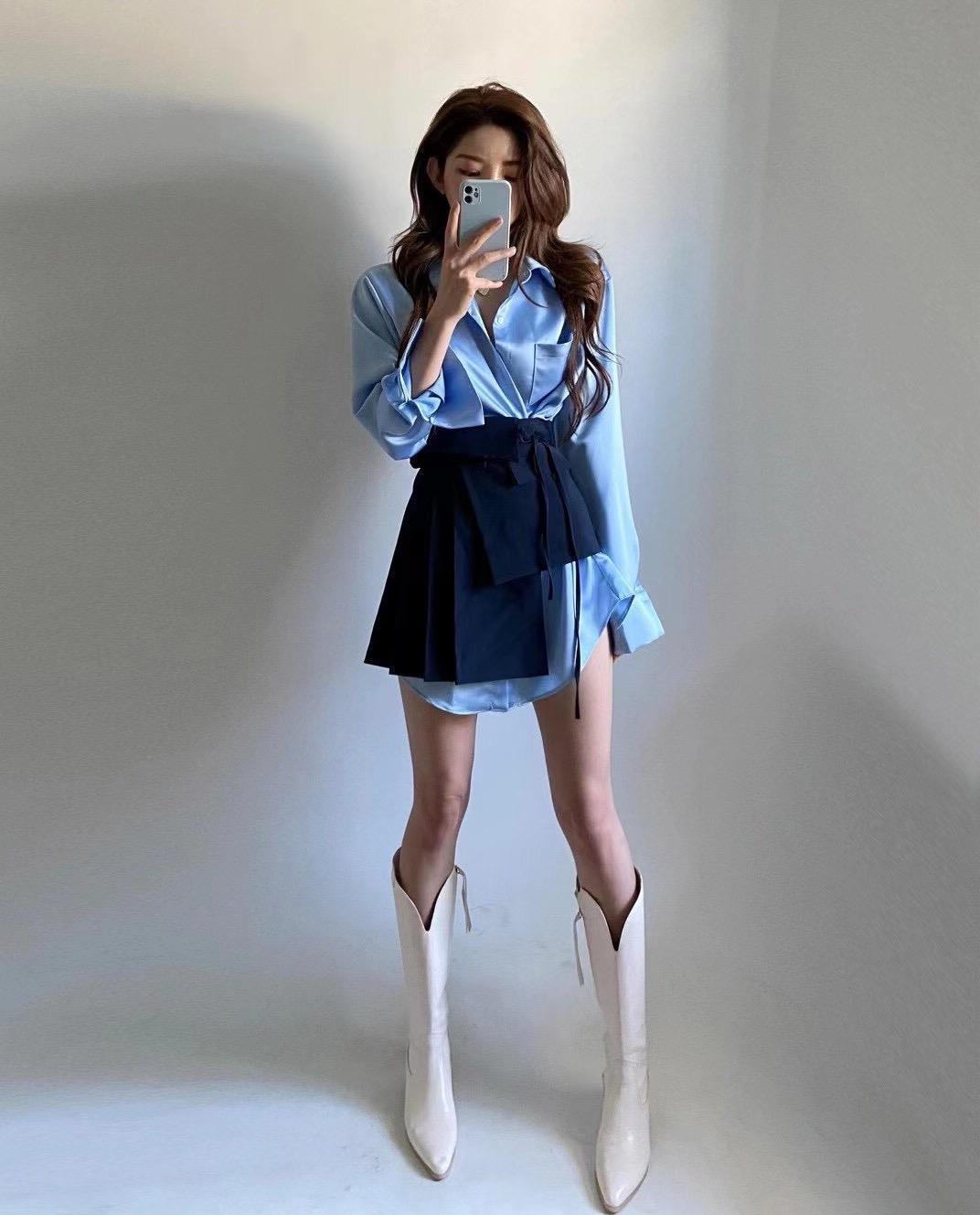 韓國東大門采購新品OL通勤仿韓版寬松襯衫配不規則腰封短裙2套裝