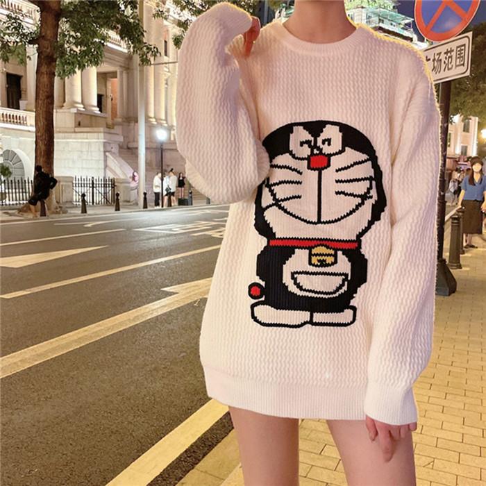 卡通哆啦A夢叮當貓繡花長袖毛線衣針織衫男寬松羊毛蓋臀打底衫女