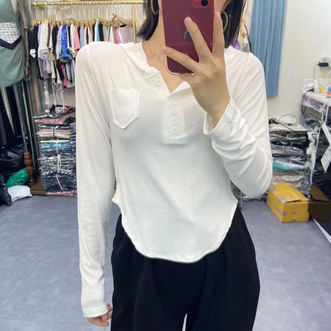 秋季韓版修身連帽v領純色短款t恤上衣洋氣長袖女套頭衫潮