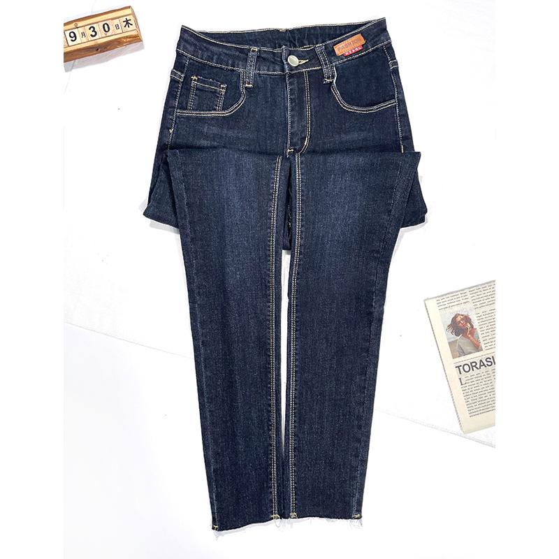 實拍小腳牛仔褲女2021年秋裝新款永久藍修身百搭顯瘦彈力長褲