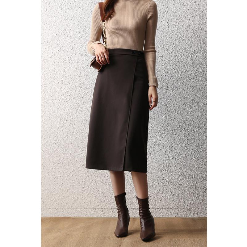 冬季毛呢中長款半身裙女氣質通勤職業裙子顯瘦高腰呢子a字裙半裙