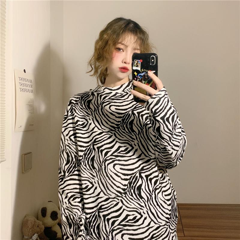 實拍實價! 三標齊! 秋季新款韓版斑馬紋長袖T恤女打底衫