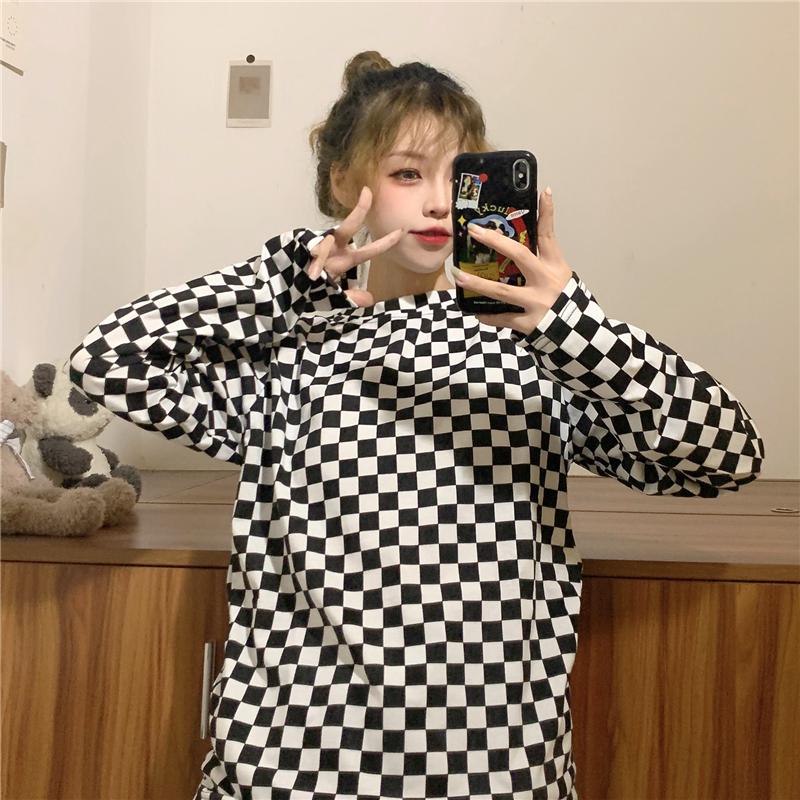 實拍實價! 三標齊! 秋季新款韓版黑白格子長袖T恤女打底衫