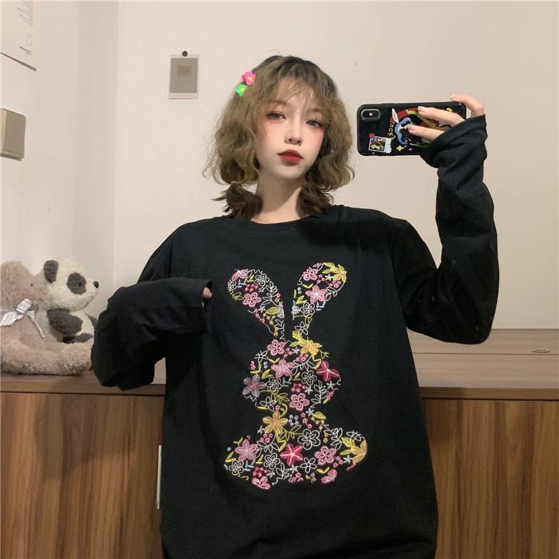 三標齊!實拍實價! 2021秋季新款韓版重工小熊刺繡長袖T恤女