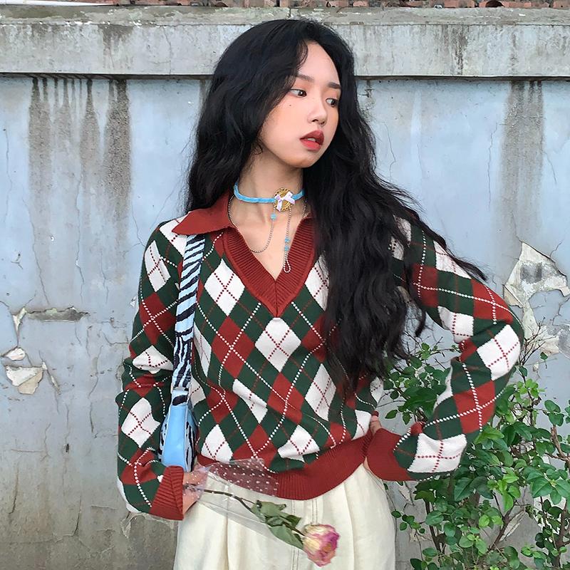 ziziFei日系新年红色圣诞毛衣女复古针织Polo衫V领上衣女秋冬港风