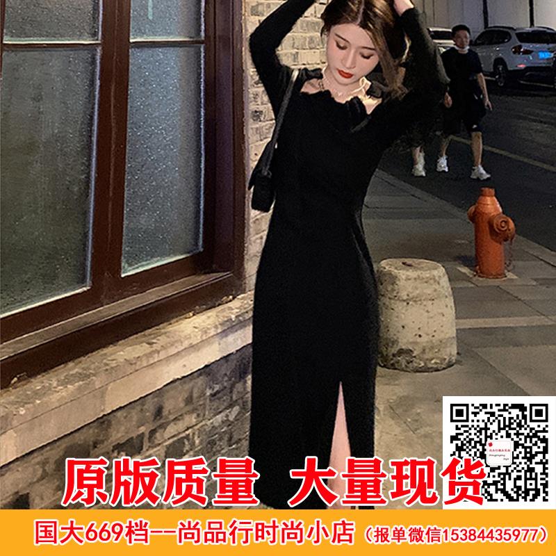GUOGUOWOMEN果果家 設計感鏤空腰間扭結顯瘦開衩秋日連衣裙