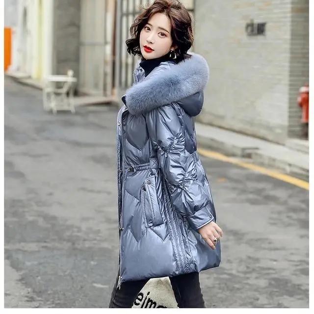 白鴨絨真狐貍毛領羽絨服女裝2021冬新款時尚氣質收腰顯瘦連帽外套
