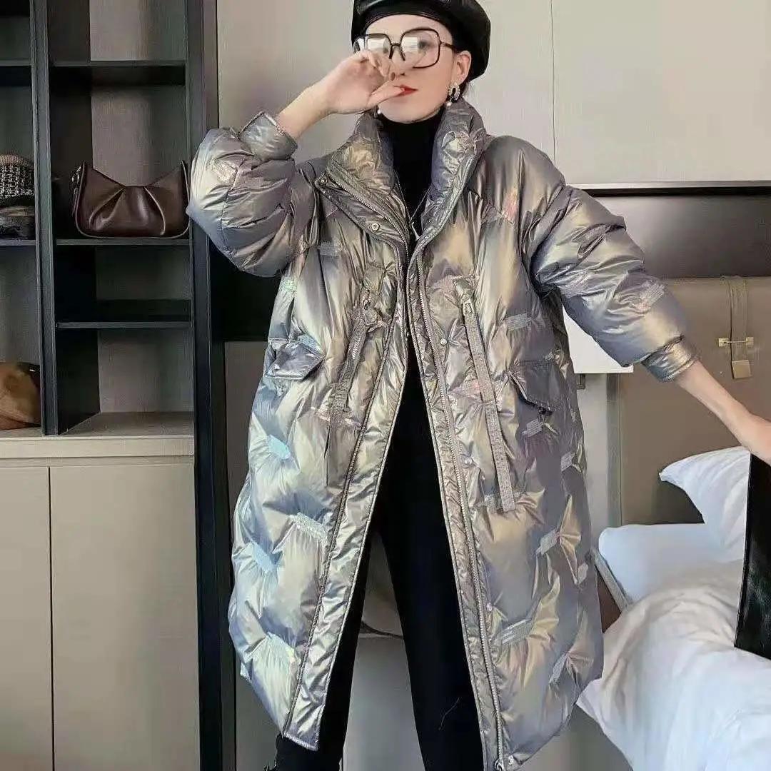 亮面羽絨服女冬2021年新款中長款白色韓版時尚寬松白鴨絨加厚外套
