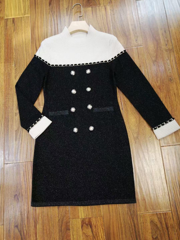 周迅同款2021秋冬小香風撞色拼色半立領雙排扣中長款針織連衣裙子