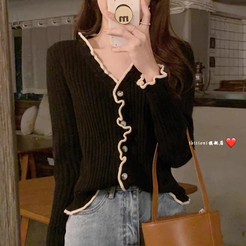 法式復古木耳邊內搭修身長袖毛衣女針織衫開衫秋冬打底衫小個子