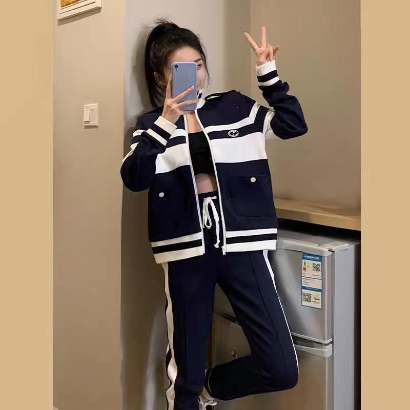 休閑時尚運動套裝2021年新款女春秋小個子短款針織外套褲子兩件套