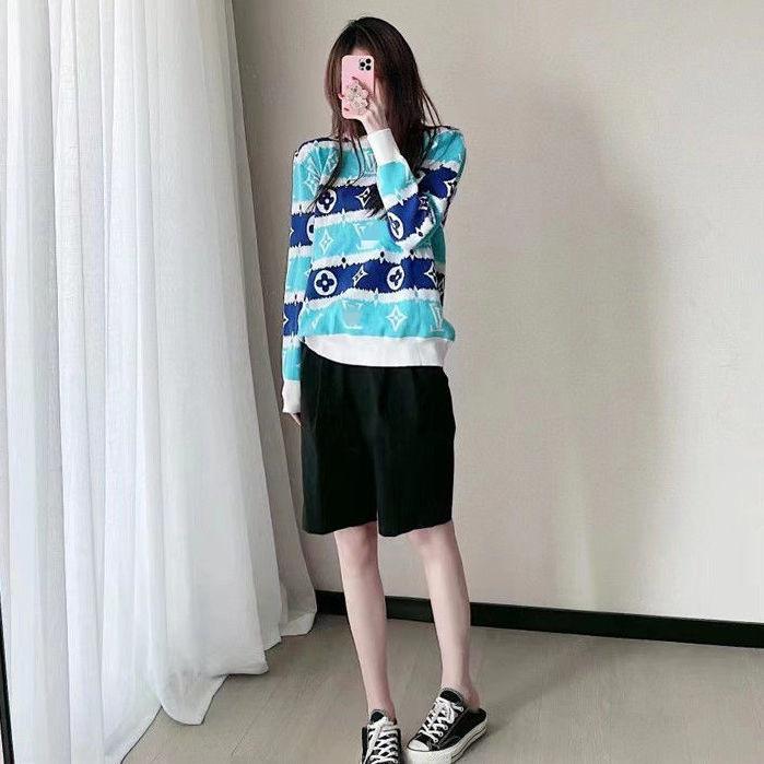 2021年秋冬新款韓版女裝套頭長袖寬松百搭圓領毛衣針織衫女士上衣