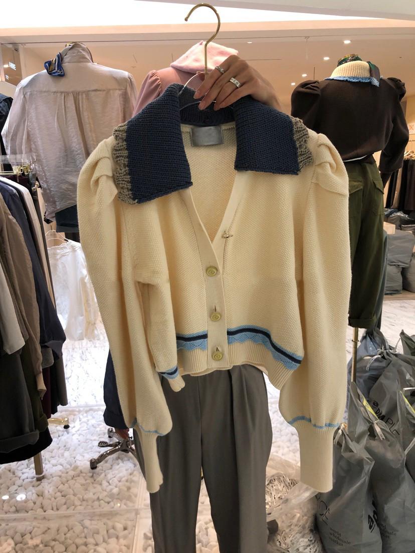 韓國東大門2021秋季新款時尚百搭撞色翻領拼接毛衣針織開衫外套女