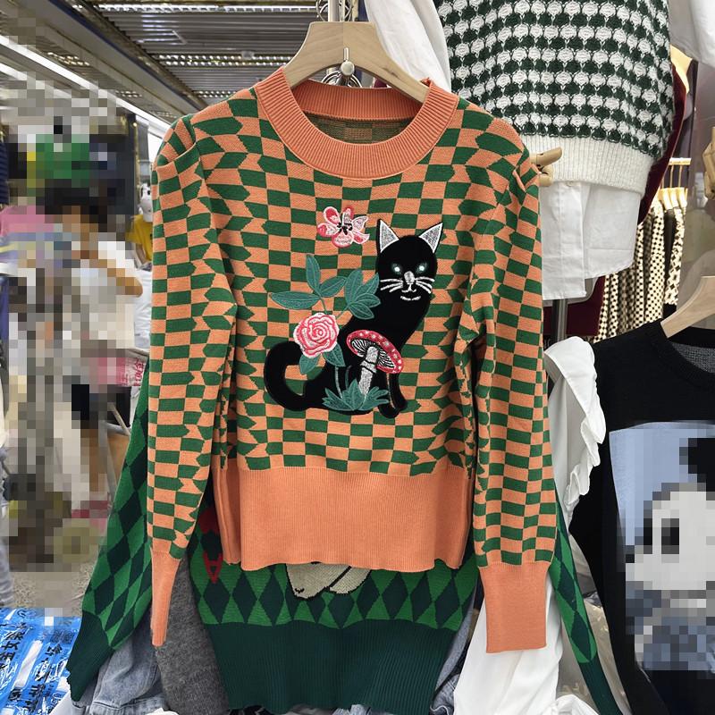 復古日系菱格桔色毛衣女2021年新款秋冬寬松慵懶風韓版針織衫上衣