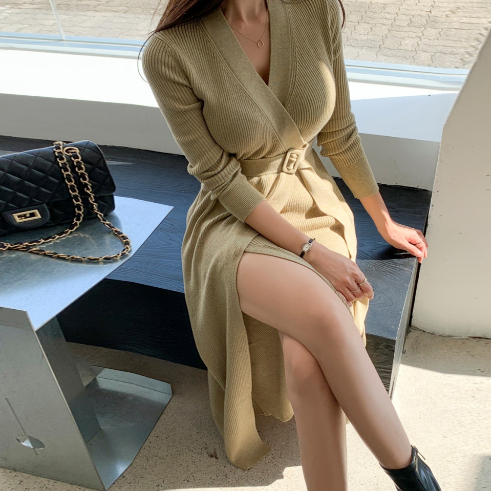 收腰顯瘦氣質時尚長款針織名媛連衣裙