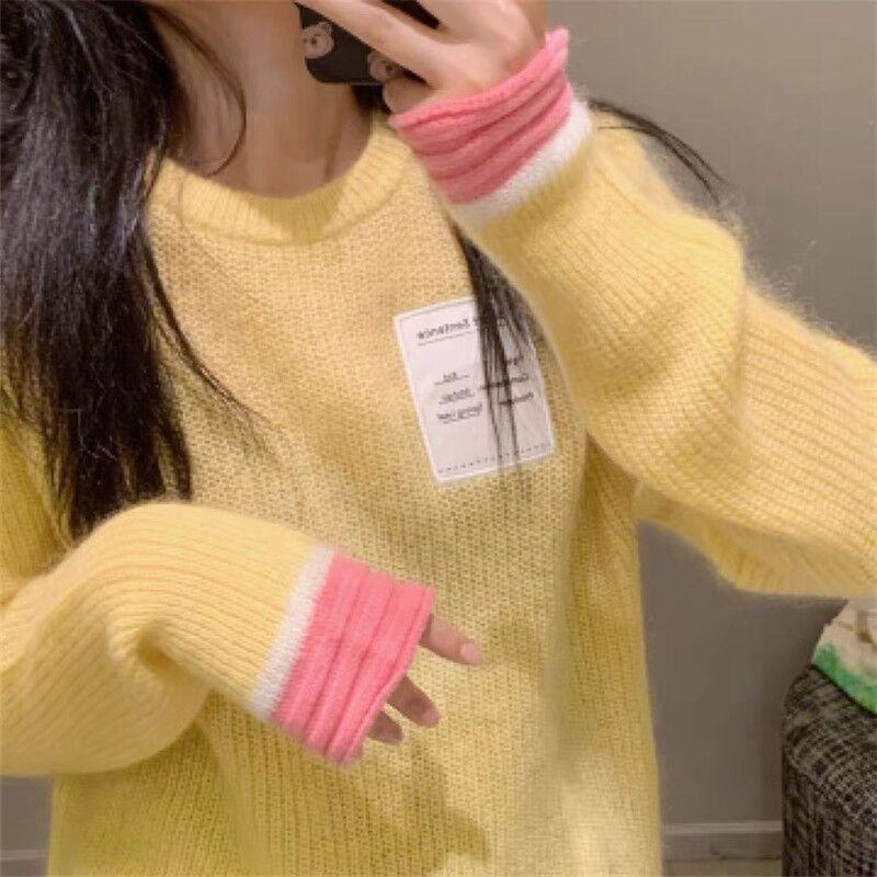 高級感葡萄紫秋冬外穿針織衫上衣女新款2021爆款復古慵懶風毛衣女